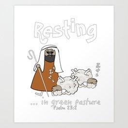 Christian Design - Sheep with Good Shepherd Resting in Green Pasture - Psalm 23 Art Print