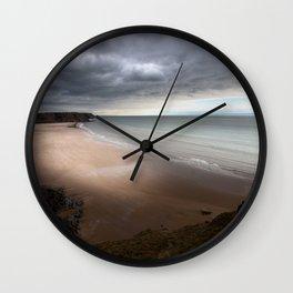 Stormy Three Cliffs Bay Wall Clock