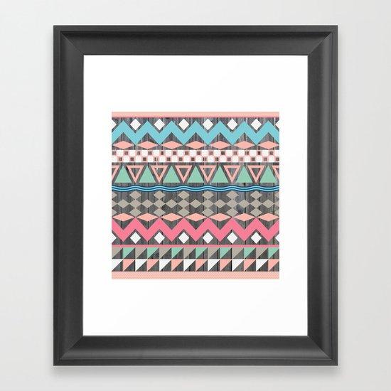 Vintage Wood Aztec, Andes Teal & Pink Abstract Pattern Framed Art Print