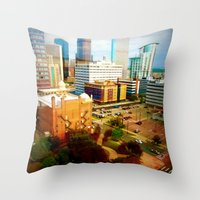 denver Throw Pillows featuring Denver by Stolen Milk
