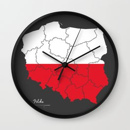 Poland map artwork with national flag colors illustration Wall Clock