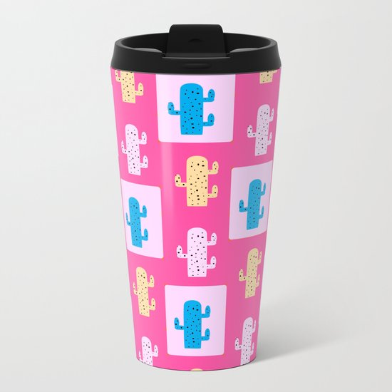 Cacti in pink Metal Travel Mug