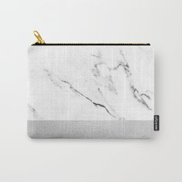 White Marble with Black and Grey Silver Stripe Carry-All Pouch