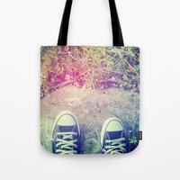 converse Tote Bags featuring Converse by Jane Mathieu