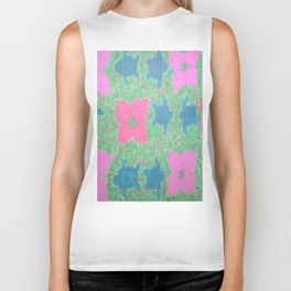 Turtles and Flowers Tropical Pattern Biker Tank