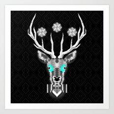 Silver Stag Geometric Art Print