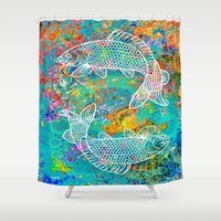 yin yang Shower Curtains featuring YIN & YANG by AlyZen Moonshadow
