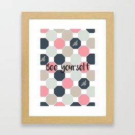 Bee yourself honeycomb Framed Art Print