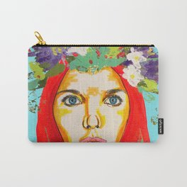 Red haired girl with flowers in her hair Carry-All Pouch