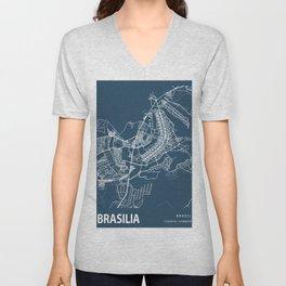 Brasilia Blueprint Street Map, Brasilia Colour Map Prints Unisex V-Neck