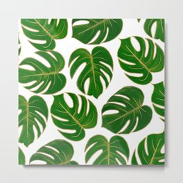Modern hand painted green faux gold monster leaves Metal Print
