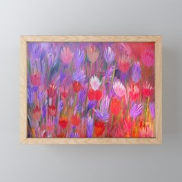 Fiery Sunset Field of Flowers Framed Mini Art Print