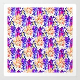 Hand painted orange purple navy blue watercolor cactus floral Art Print