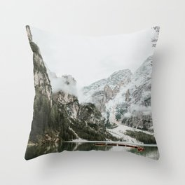 Lago di Braies, Dolomites | Colourful Travel Photography | Dolomiti, Italy (Europe) Throw Pillow
