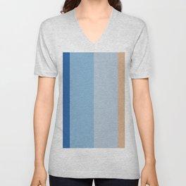 Visual Harmony - Classic Blue and Cappuchino Unisex V-Neck