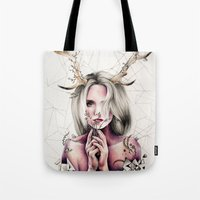 jenna kutcher Tote Bags featuring The Antlers  by KatePowellArt