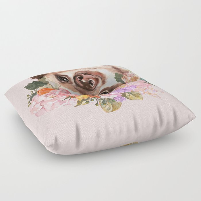Baby Sloth with Flowers Crown in Pink Floor Pillow by bignosework ...