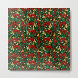 Strawberry pattern in traditional russian style hohloma khohloma Metal Print