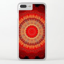 Vibrant Red Gold and black Mandala Clear iPhone Case