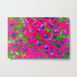 blooming pink flower with green leaf background Metal Print