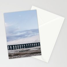 Snow and Moon over the Ribblehead Viaduct. Settle to Carlisle Railway, North Yorkshire, UK. Stationery Cards