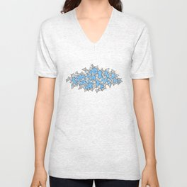 Triangles and Tessellation in Blue Unisex V-Neck