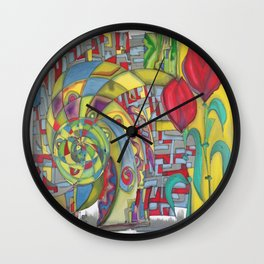 abstract red flower Wall Clock