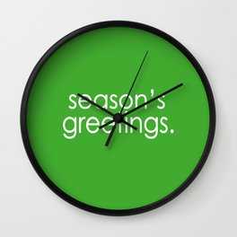 Season's Greetings in Green Wall Clock