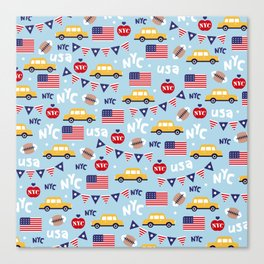 Made in the USA New York City icons pattern Canvas Print