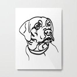 Labrador Retriever Thick Line Drawing Metal Print