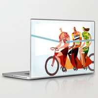 tour de france Laptop & iPad Skins featuring Bicycle Tour de France Tandem for Three by Gregory Baldwin