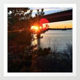 Winter Sunset/Sunburst Behind Casco Bay Bridge in South Portland, Maine Art Print