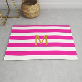 M Gold Raspberry Pink Stripes Rug