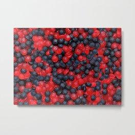 Gummy Raspberries and Blackberries Real Candy Pattern Metal Print
