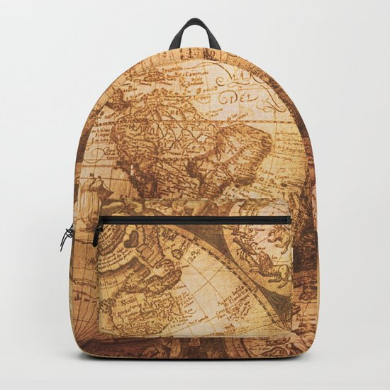 Antique World Map on Wood Backpack