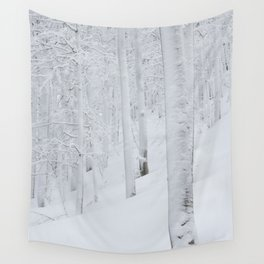 Snow covered forest winter wonderland Wall Tapestry