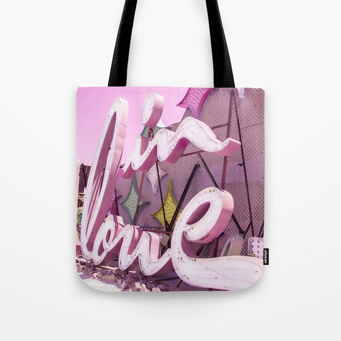"""Pink """"In Love"""" Sign at the Neon Museum in Las Vegas, Nevada Tote Bag"""
