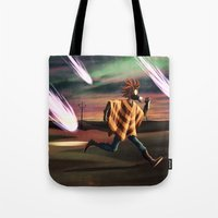 battlefield Tote Bags featuring Air Raid in the Battlefield by Lukas Stobie