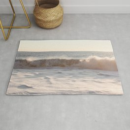 Waves Rolling In At Sunset | Pastel Seascape Ocean Art Print | Iceland Travel Photography Rug