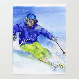 Watercolor skier, skiing illustration Poster
