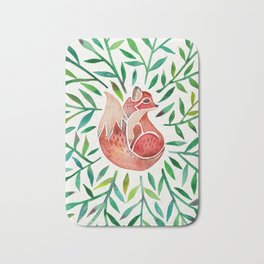 Woodland Fox – Green Leaves Bath Mat