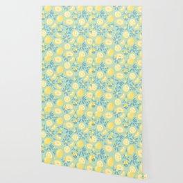Lemon Pattern Mint Wallpaper