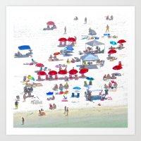 Red Umbrellas Art Print