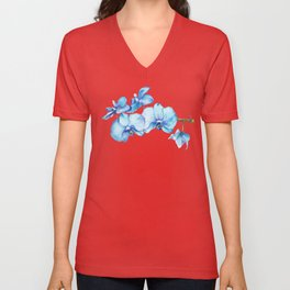 Blue Orchids Two - Watercolor Unisex V-Neck