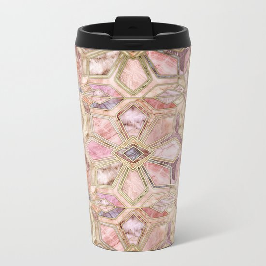 Geometric Gilded Stone Tiles in Blush Pink, Peach and Coral Metal Travel Mug