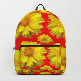 """YELLOW COREOPSIS """"TICK SEED"""" FLOWERS RED PATTERN Backpack"""