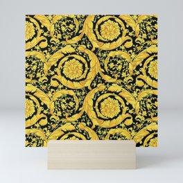 Black Gold Leaf Swirl Mini Art Print