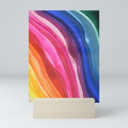 colorful waves: pink and blue Mini Art Print