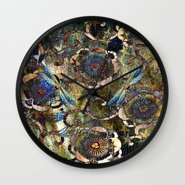 Peonies and Jeweled Dragonflies Pattern Wall Clock