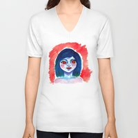 creepy V-neck T-shirts featuring Creepy by Alex Dehoff